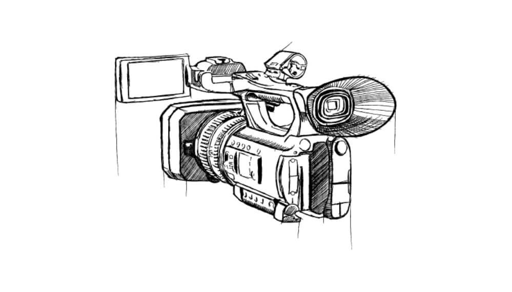 Piirretty videokamera.